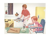 Illustration of Mother Baking Cookies Giclee Print