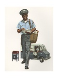Illustration of Mailman Delivering Mail Giclee Print