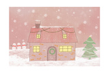 Illustration of a House While Snowing Giclee Print