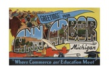 Greetings from Ann Arbor Michigan Postcard Giclee Print