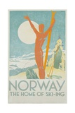 Norway, the Home of Skiing Poster Giclée-tryk af Trygve Davidsen