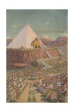 An Idealistic Depiction of the Atlantean Mystery Temple Giclee Print by J. Augustus Knapp