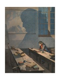 Illustration of a Young Napoleon Studying at College Giclee Print by Jacques Onfroy de Breville