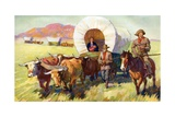 Illustration of Wagon Train of American Settlers Moving across Western Plains Giclee Print