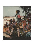 Illustration of Hernando De Soto Discovering the Mississippi River Giclee Print by J.L. Kraemer
