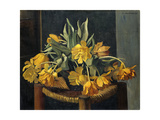 Double Yellow Tulips on a Wicker Chair Giclee Print by Félix Vallotton