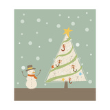 A Snowman Next to a Christmas Tree Giclee Print