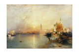 Sunset, Venice; Santa Maria and the Ducal Palace Giclee Print by Thomas Moran