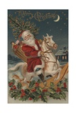 Merry Christmas Postcard with Santa on Rocking Horse Giclee Print