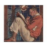 Illustration of Man Reading and Smoking Pipe Giclee Print