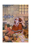 Illustration of King Midas Counting Gold in His Treasure Room Giclee Print by Milo Winter