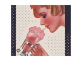 Magazine Illustration of Woman Drinking Ice Cream Soda Giclee Print by Dynevor Rhys