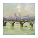 Waterloo Bridge and Hungerford Bridge with the Houses of Parliament Beyond Giclee Print by Emile Claus