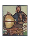 Illustration of Female Aviator and Globe Giclee Print
