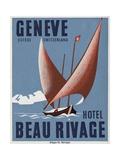 Beau Rivage Hotel Geneve Luggage Label Giclee-trykk