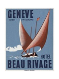 Beau Rivage Hotel Geneve Luggage Label Giclee Print