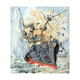Sinking of Russian Battleship Petropavlosk (April 1904) Giclee Print