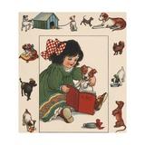 Illustration of Little Girl Reading to Her Dog Impression giclée