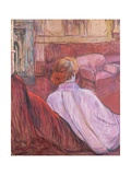 Woman Sitting on a Red Settee Lámina giclée por Henri de Toulouse-Lautrec