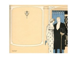 Illustration of Fashionable Couple by a Wall Giclee Print by L. Fellows