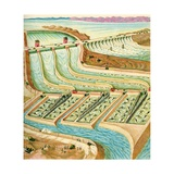 Illustration of Dam on Colorado River in California Giclee Print by C.H. Dewitt