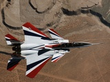 Red, White, and Blue F-15B in Flight Photographic Print