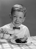 1960s Boy Wearing Bow Tie Eating Pie Dessert with Fork Photographic Print