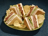 1960s Toasted Club Sandwich Turkey Bacon Lettuce Tomato Green Plate Photographic Print