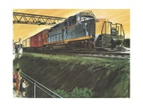 Illustration of Freight Train Giclee Print