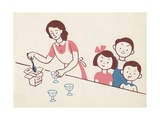 Illustration of Mother Serving Ice Cream to Children Giclee Print by Lois Lenski