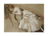 Madame Helleu Reclining on a Chaise-Longue Giclee Print by Paul Cesar Helleu
