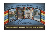 Greetings from Reno Nevada Postcard Giclee Print