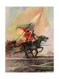 Illustration of Joan of Arc Charging into Battle on Horseback Giclee Print by Frank E. Schoonover