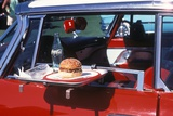 Food Tray on Antique Car Window Lámina fotográfica
