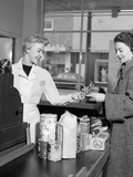 1950s Woman Grocery Store Checkout Female Cashier Photographic Print