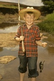 1950s Boy Straw Hat Holding Fishing Pole Wearing Plaid Shirt Blue Jeans Photographic Print