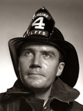 1950s Portrait Fireman Serious Expression Metal Fire Hard Hat Engine 4 Photographic Print