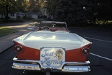 1950s Just Married Sign on Back of Ford Convertible Car Photographic Print