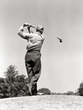 1940s-1950s Man Playing Golf Teeing Off Swinging Driver Club Photographie
