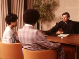 1970s Priest Minister Clergy Man Interviewing Consulting Couple Man Woman Fotografisk tryk