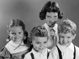 1950s Portrait of Four Children Two Boys and Two Girls Photographic Print