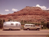 1970S Station Wagon Trailer Rv New Mexico Highway Tourist Man Woman Photographic Print by Joseph Wright