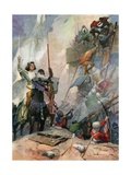Illustration of Joan of Arc in Battle Giclee Print by Frank E. Schoonover