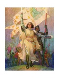 Illustration of Joan of Arc with Raised Sword Giclee Print by Frank E. Schoonover