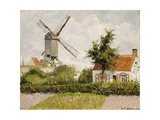 Windmill at Knock, Belgium Giclee Print by Camille Pissarro