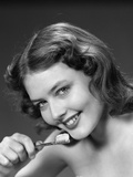1940s-1950s Woman Holding Tooth Brush Photographic Print
