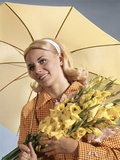 1960s Smiling Blond Woman Umbrella Holding Bouquet Yellow Gladiolas Photographic Print