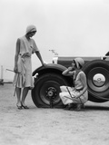 1930s Two Women Confront an Automobile Flat Tire Photographic Print