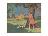 Book Illustration of Girls Playing on a Swing Giclee Print