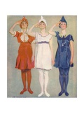 Our Flagg Girls: Three Cheers for the Red, White and Blue! Giclee Print by James Montgomery Flagg